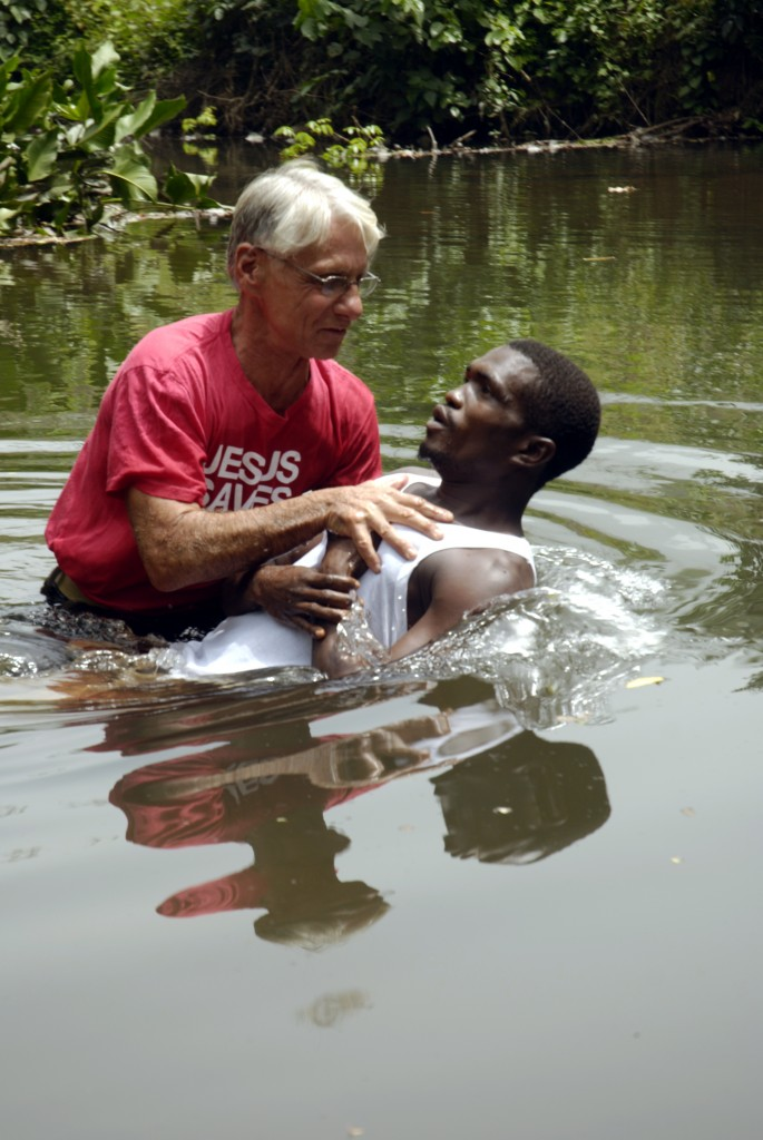 The baptism of a believer. Baptism is a public profession that one has put his full faith and trust in Jesus. It is a symbolic washing away of sin, but the act itself does nothing more than make a public statement that one is now a Christian.