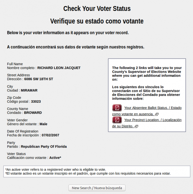 Florida Division of Elections database record